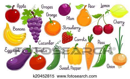 Clipart set di vettore frutta fresca e verdura for Clipart frutta