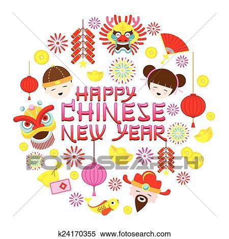 剪贴画 - 中国的新年, 正文, 带, 图标图片