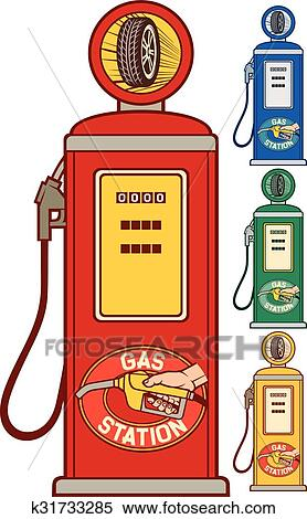 clipart retro pompe essence gas station k31733285 recherchez des clip arts des. Black Bedroom Furniture Sets. Home Design Ideas