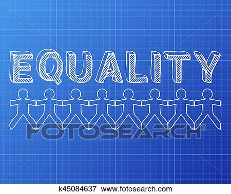 Clip art of equality people blueprint k45084637 search clipart equality hand drawn text and cut out paper people chain on blueprint background malvernweather Gallery