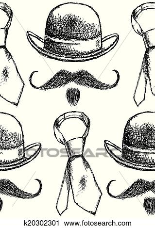 Clipart croquis chapeau cravate et moustache vecteur seamless mod le k20302301 - Dessin de cravate ...