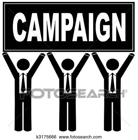 stock illustration of group of men holding sign up that says campaign k3175666 search clip art. Black Bedroom Furniture Sets. Home Design Ideas