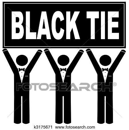 Clip Art of men wearing tuxedo holding up blank sign k3175672 ...