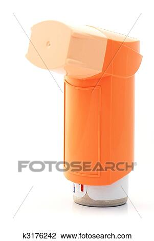 Banque de Photo - orange, inhalateur asthme k3176242