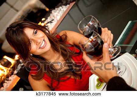 Banco de Imagem - mulher, em, um, jantar romântico. Fotosearch - Busca de Fotografias, Fotografia Mural, Fotos Clipart