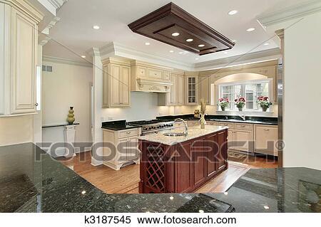 stock bild kueche mit zentrieren insel k3187545. Black Bedroom Furniture Sets. Home Design Ideas