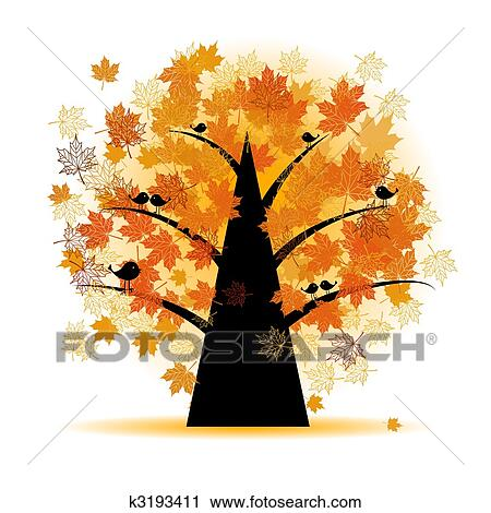 Clip Art of Maple tree, autumn leaf fall k3194507 - Search Clipart ...
