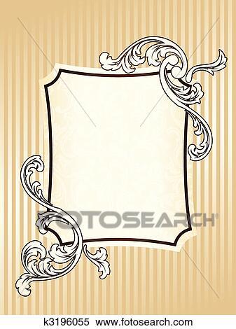 Clipart elegante rechteckig altmodisch sepia rahmen for Elegante wandbilder