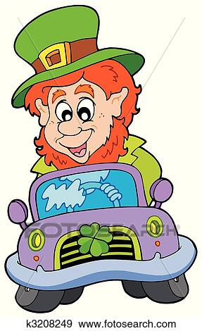 clip art of cartoon leprechaun driving car k3208249 search rh fotosearch com clipart leprechaun pot of gold clip art leprechaun free