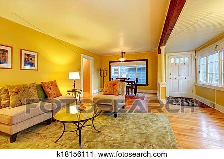 Stock fotografie open motieven interior woonkamer met het dineren gebied k18156111 - Gemeubileerde woonkamer ...