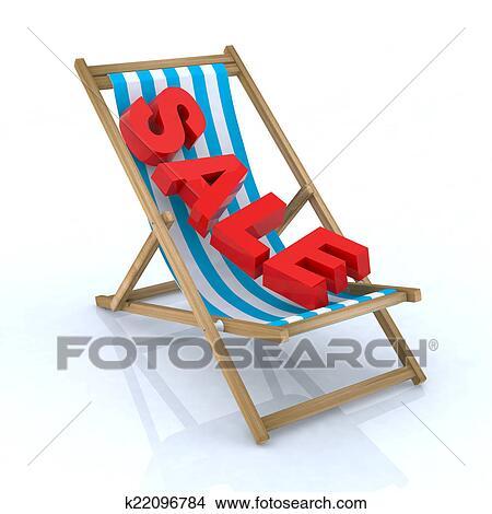 手绘图 - 海滩椅子, 带