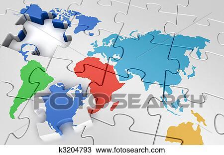 手绘图 - 难题, 世界地图