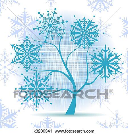 Clipart of winter tree snowflakes christmas holiday