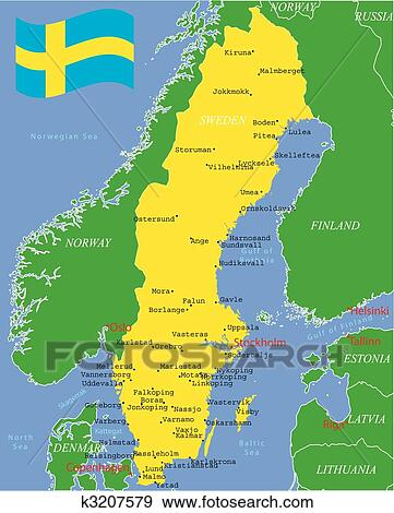 Clip Art Of Sweden Map With Major Cities K Search - Sweden map search