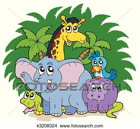 Clipart of Group of African animals k3208324 - Search Clip Art ...