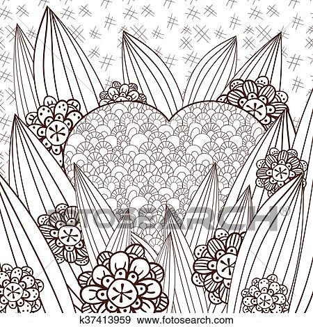 Clip Art Of Whimsical Garden Adult Coloring Page K37413959