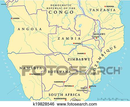 Clip Art Of SouthCentral Africa Political Map K Search - South africa political map