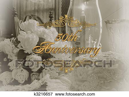 Stock illustration of 50th wedding anniversary invitation k3216657 stock illustration 50th wedding anniversary invitation fotosearch search eps clipart drawings stopboris