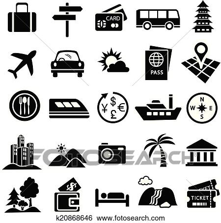 Clip Art of travel icon set k20868646 - Search Clipart ...