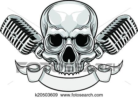 Clip Art of skull and microphones k20503609 - Search Clipart ...