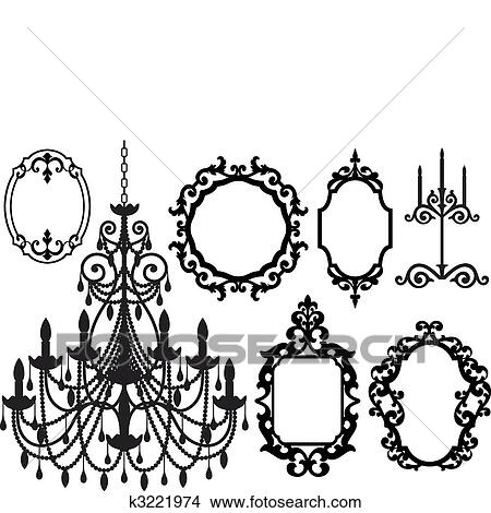 Clipart of picture frames and chandelier k3221974 search clip clipart picture frames and chandelier fotosearch search clip art illustration murals mozeypictures Choice Image