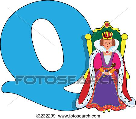 clip art of letter q with a queen k3232299 search clipart rh fotosearch com queen clipart png queen clip art images