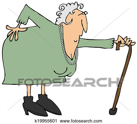 clipart of old woman with a sore back k19955601 search clip art rh fotosearch com old woman clip art free grumpy old woman clipart