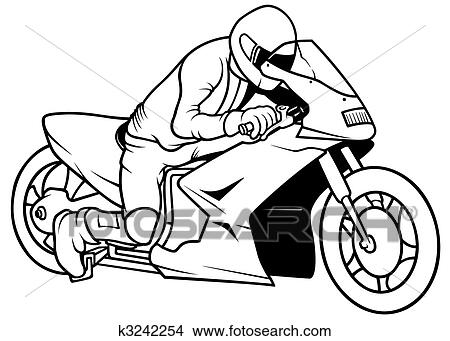 手绘图 - 摩托车竞赛