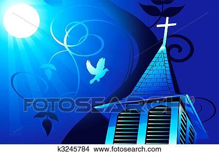 Desenho - igreja, em, moonlight . Fotosearch - Busca de Ilustrações Clip Arte, Posters de Parede, e Vetores Gráficos EPS