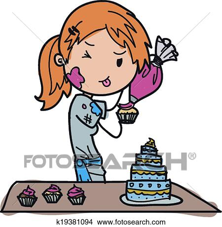 Cake Decor Clipart : Clipart of baker vector k19381094 - Search Clip Art ...