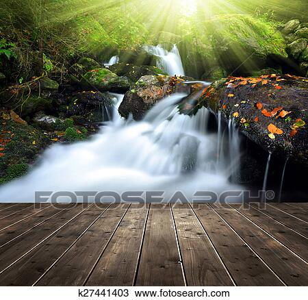Beautiful waterfall, lush waterfall in forest, фото 22558888, снято 3 августа 2017 г (c)