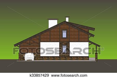 Colección de ilustraciones   fachadas, cabaña k33857429   buscar ...