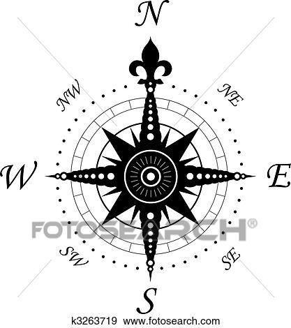 Clip Art Of Vintage Compass Symbol K3263719 Search Clipart