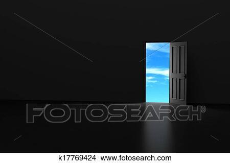 Drawings of Dark room with open door k17769424 Search Clip Art
