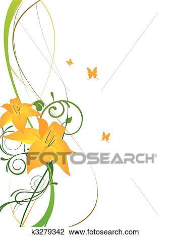 Clipart elegante blumen k3279342 suche clip art for Elegante wandbilder