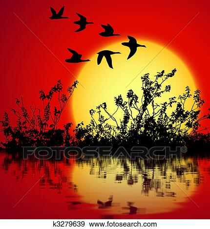 landscape sunset drawing. landscape on sunset with silhouette birds flying drawing