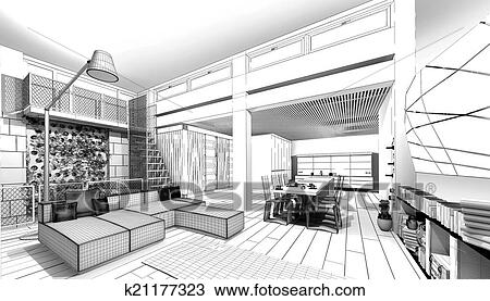 Wireframe Apartment 3D Model