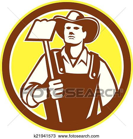 Clipart of Organic Farmer Holding Grab Hoe Circle Retro k21941573 ...