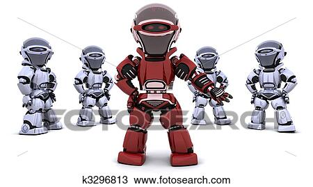 Drawing of red robot leading a team k3296813 - Search ...