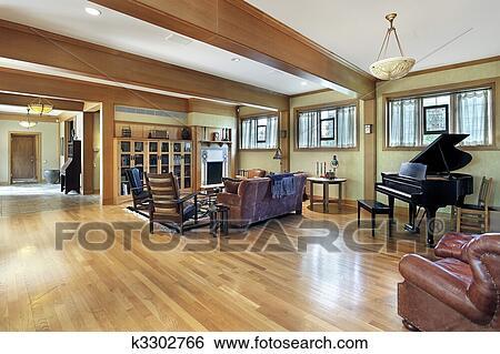 Stock afbeeldingen woonkamer met plafond balken k3302766 zoek stockfotografie poster - Kamer met balken ...