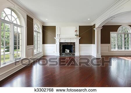 Bilder - wohnzimmer, mit, kirschen, holz, fussboden k3302768 ...