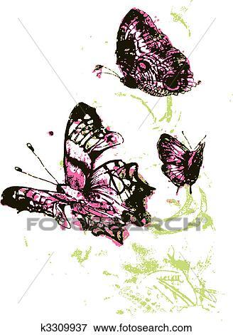 剪贴画 蝴蝶, 在中, 花园