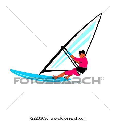 Clip Art Of Windsurfing Vector Sign K22233036