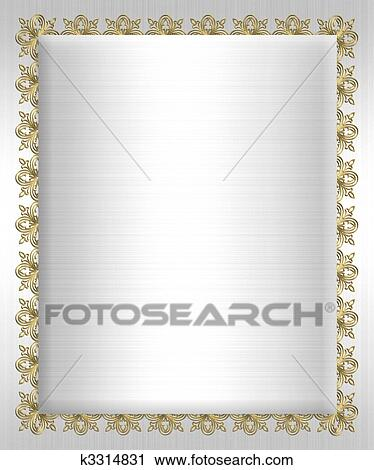 Clipart of formal invitation template white satin k3314831 search formal invitation template gold ornamental background border on white satin for wedding or elegant anniversary party with copy space stopboris Choice Image