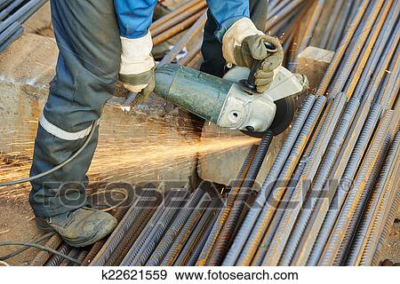stock photograph worker cutting rebar by grinding machine fotosearch search stock photography
