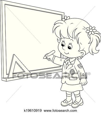 Tafel clipart schwarz weiß  Clip Art - schoolgirl, schreibt, auf, dass, tafel k19610919 ...