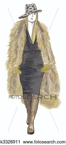 Clipart les girl dans manteau fourrure k3328911 - Dessin de manteau ...