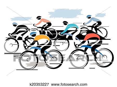 Clipart cycle course peleton k20353227 recherchez - Cycliste dessin ...