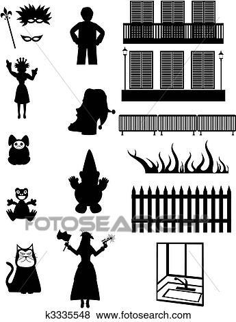 Clip Art Of Work Pleasure Amp Fantasy Vector Silhouettes