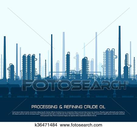 Clipart of Oil and gas refinery k36471484 - Search Clip Art ...